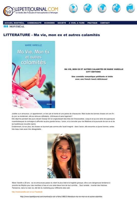Article Ma vie, mon ex et autres calamités dans le Petit Journal