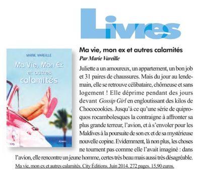 Article ma vie, mon ex et autres calamités Marie Vareille Chausser magazine