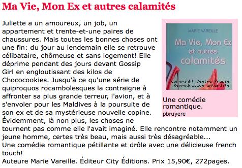 Article Centre Presse Marie Vareille Ma vie, mon ex et autres calamités
